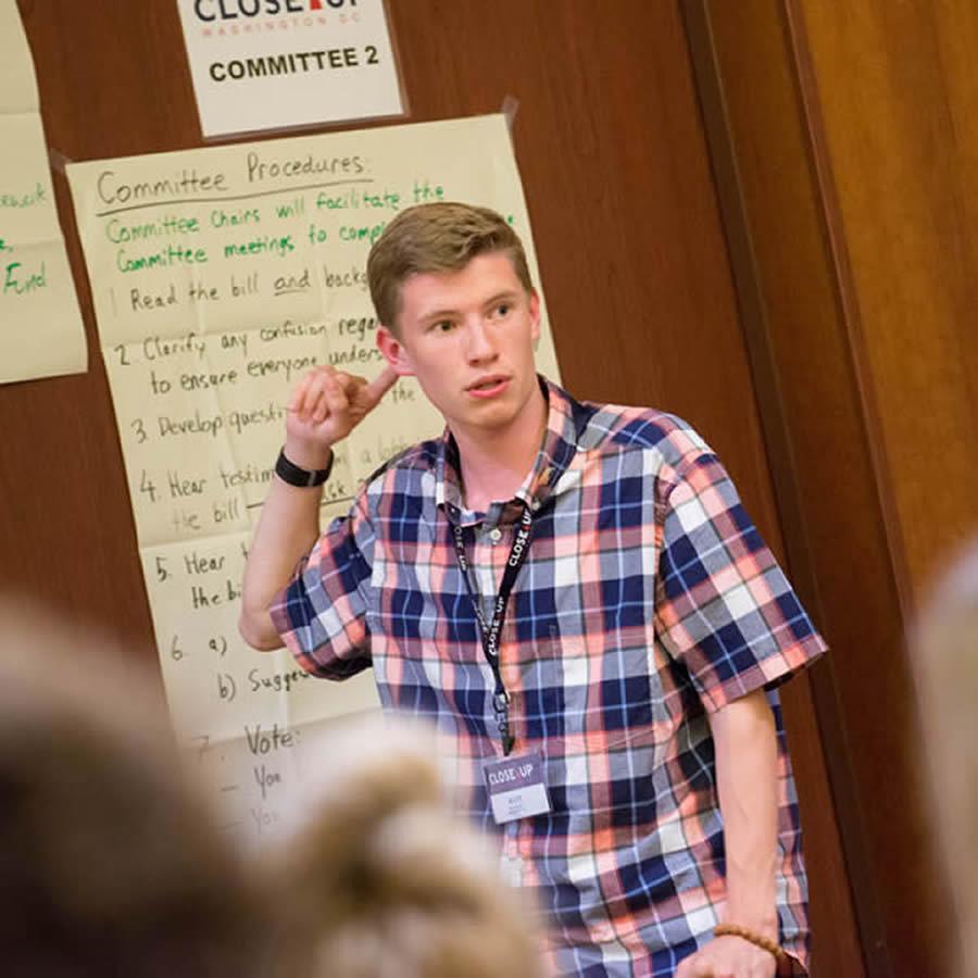 mock congress student learning talking