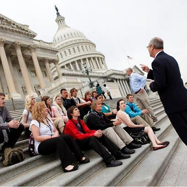 High school students meeting with their representative on Capitol Hill