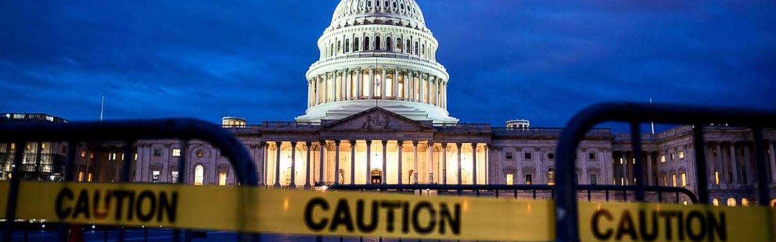 Caution US Capitol Governemnt Shutdown