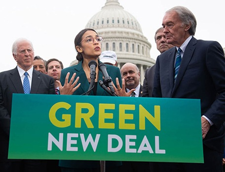 Alexandria Ocasio-Cortez speaks about Green new deal in front of Capitol