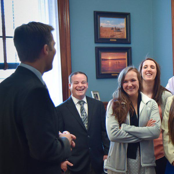 Ben Sasse talking with students