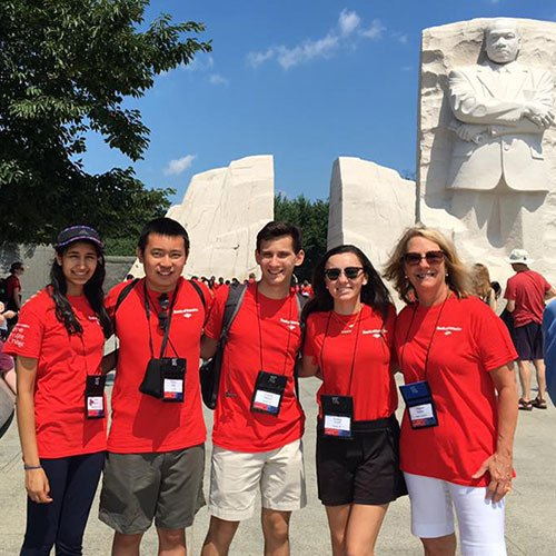 Students participating in Bank of America program posing at Martin Luther King Jr. Memorial