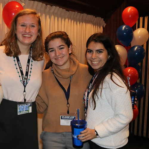 High school females having fun at election party in Washington, DC