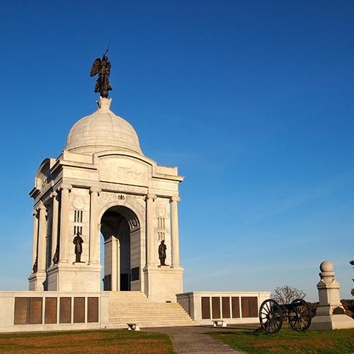 Monument on battlefield of Gettysburg, PA