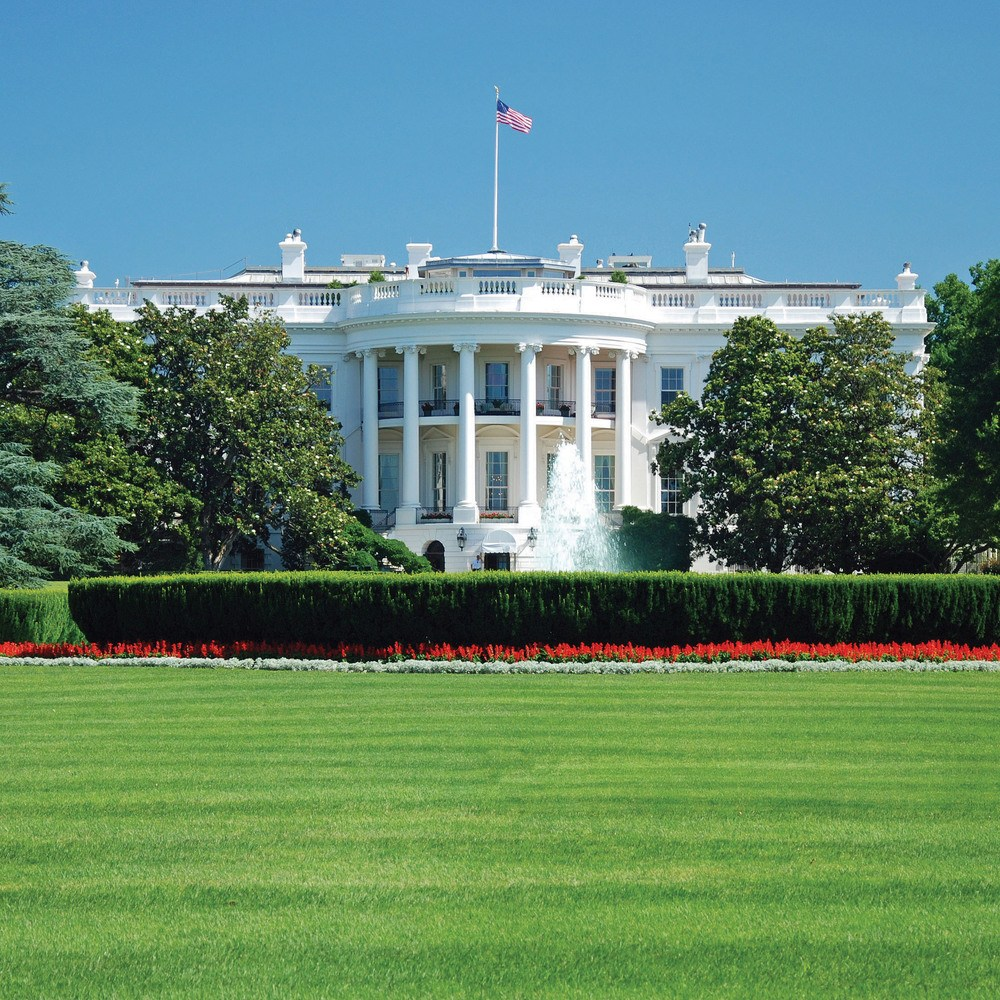 The White House in Washington, DC on a sunny spring day