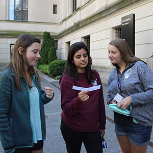 Female students working together on Georgetown Leadership program in Washington, DC